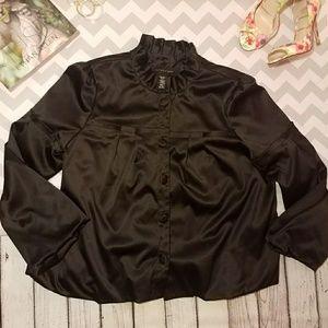 💕APOSTROPHE black Satin BALLON button down jacket